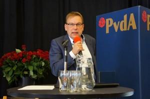 Partijleider en fractievoorzitter Luc Schuur houdt zijn 1 Mei-toespraak