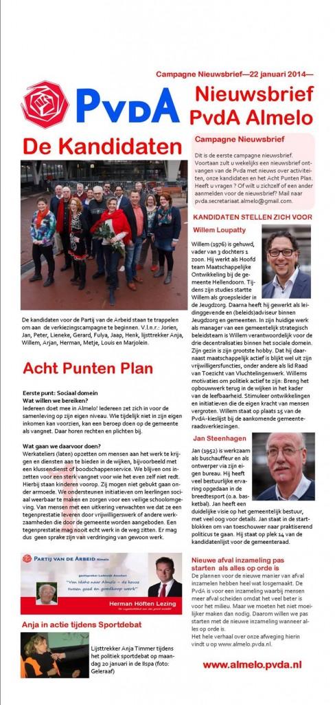 Nieuwsbrief PvdA Almelo 22 januari 2014